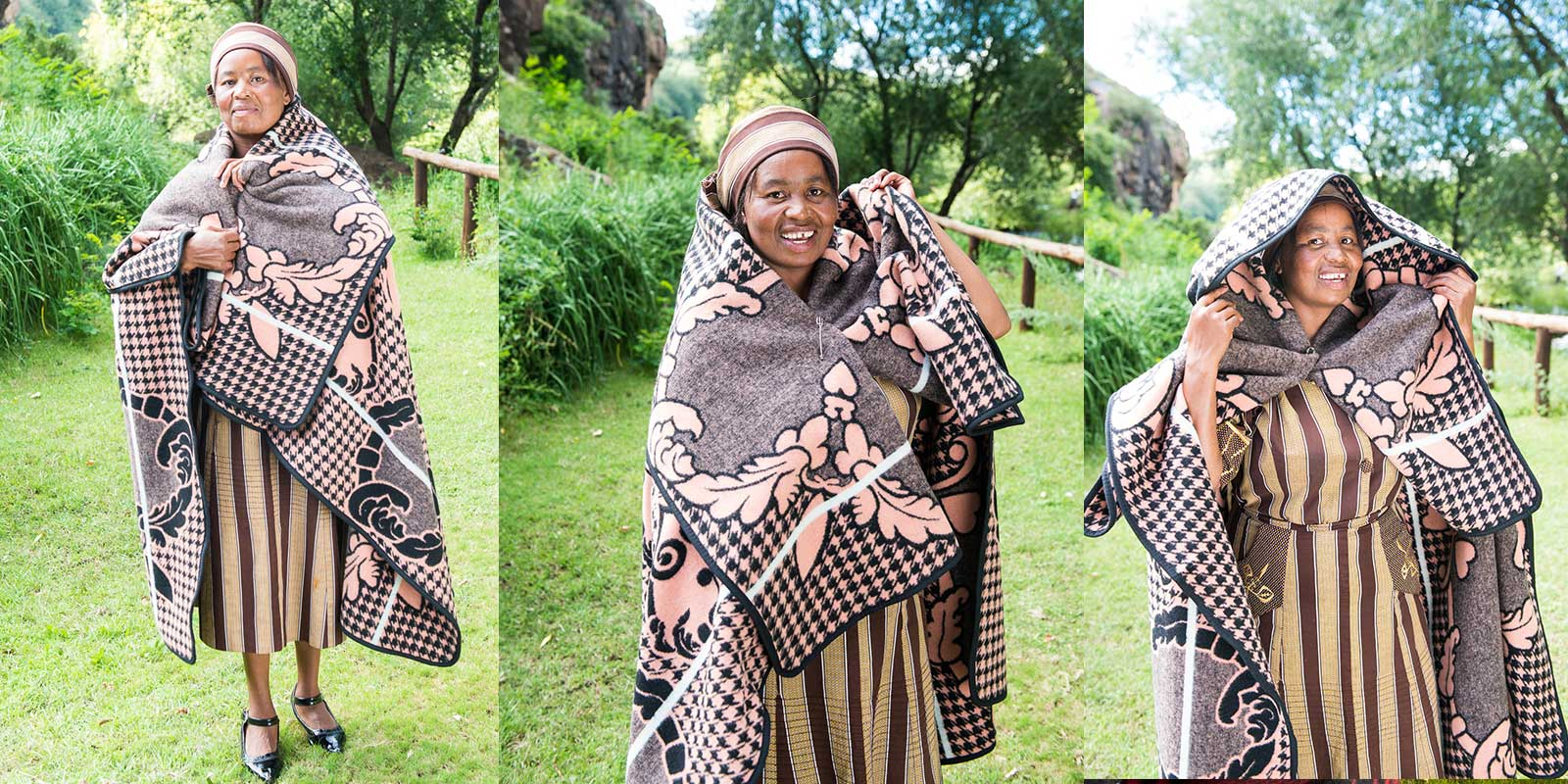 How a basotho blanket is worn traditionally