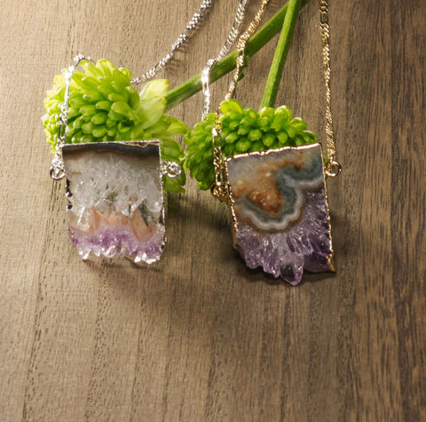 Amethyst Horizontal Slice Necklace