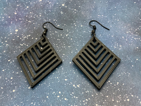Geometric Diamond 3D Printed Earrings