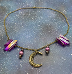 Pink Quartz Crescent Moon Necklace