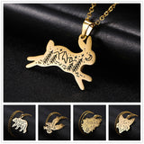 Animal nature engraved pendant necklace rabbit gold