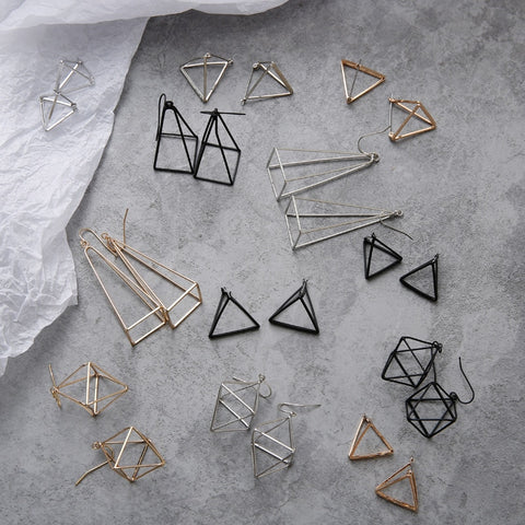 Minimalist 3D Geometric Earrings