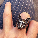 Cat Head Metal Statement Ring