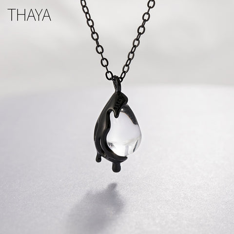 Black Tears Crystal Drop Sterling Silver Necklace