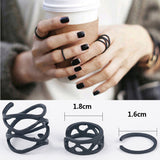 Geometric Black 3 Piece Midi Rings