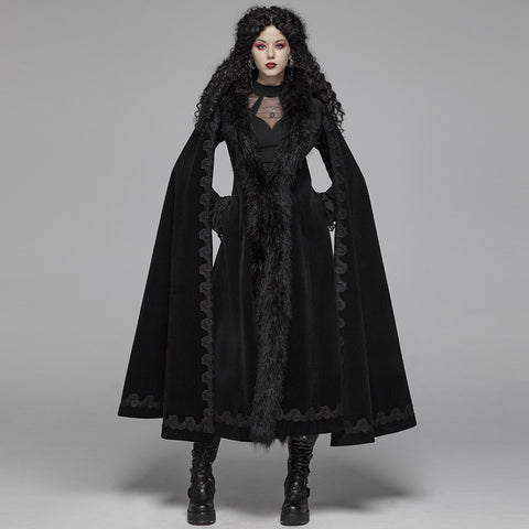 Gothic Lace and Fur Cape-sleeved Jacket
