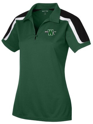 Waxahachie High School | Women's Active Polo | Black/White Striped