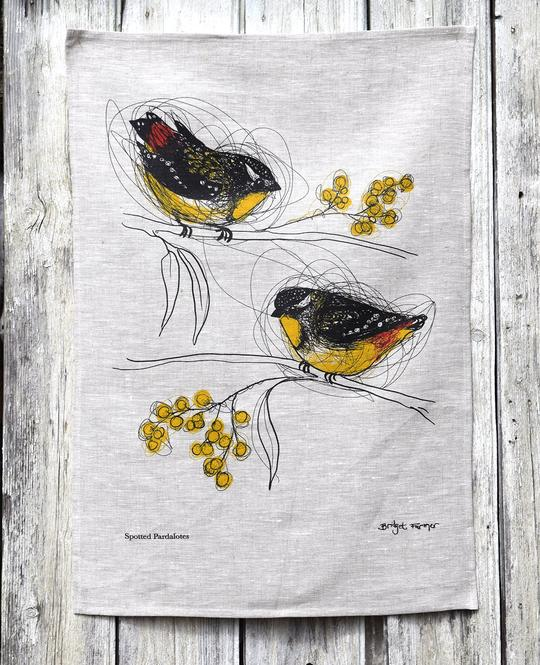 SPOTTED PARDALOTES TEA TOWEL