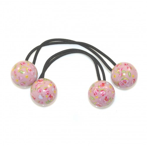 HAIR ELASTIC FLORAL BALL BOBBLES