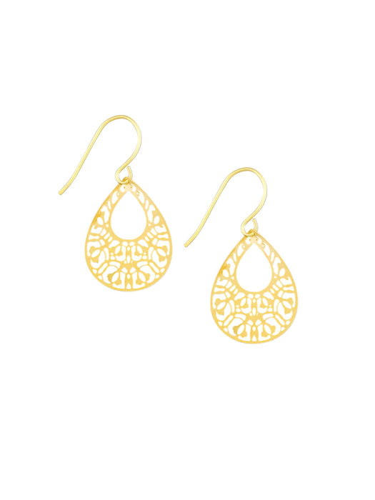 EARRINGS GOLD MINI FILIGREE TEARDROPS
