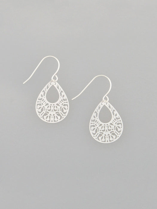 EARRINGS SILVER MINI FILIGREE TEARDROPS