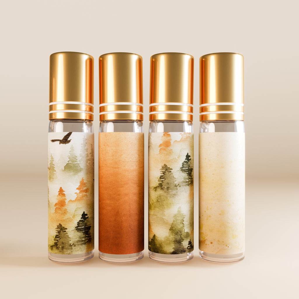 Chai And Roll Set Of Four 10 ML Golden Top Glass Boho Roller Bottles