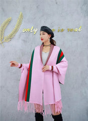 LUXURY PINK PONCHO WITH SLEEVE