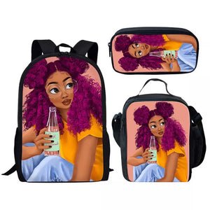 Print African American Red hair Black Art Girls backpack Set with Lunch Bag pencil bag for Girls