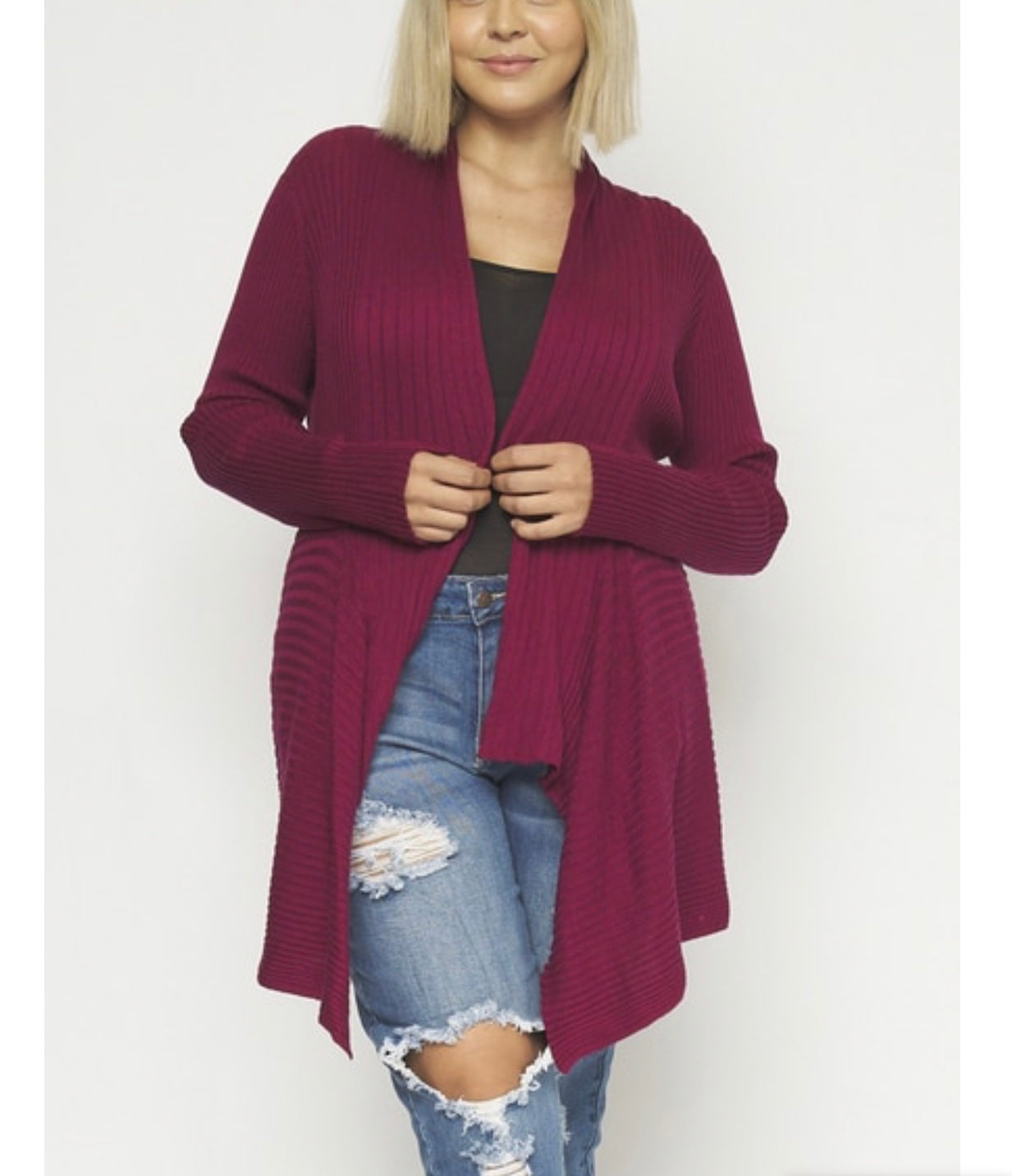 WINE LONG SLEEVE OPEN FRONT THICK KNIT CARDIGAN