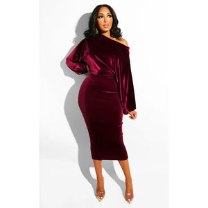 Off Shoulder Midi Dress Sexy Puff Long Sleeve Velvet Bodycon Evening Party Pencil Dresses