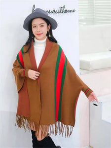 LUXURY BROWN PONCHO WITH SLEEVE