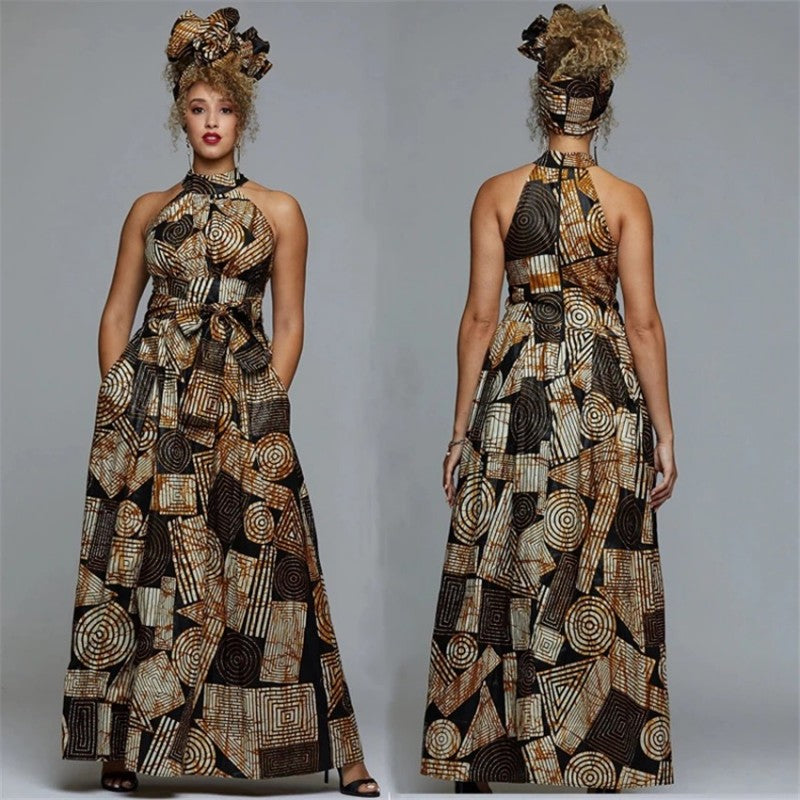 African print dress brown