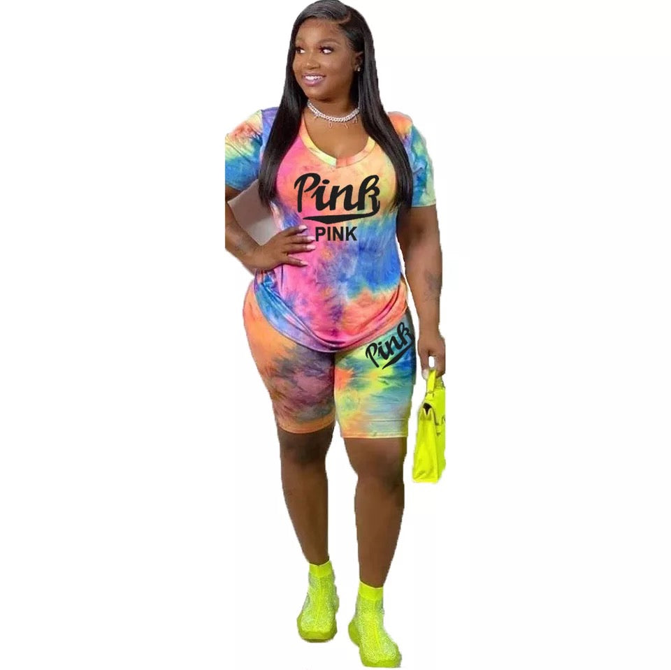 2 Piece Shorts Set for Women Tie Dye Letter Print Shirt and Bodycon Shorts Set Two Piece Tracksuits