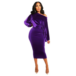 One Off Shoulder Midi Dress Sexy Puff Long Sleeve Velvet Bodycon Evening Party Pencil Dresses