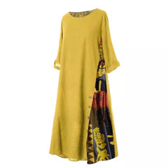 Hot Plus Size Women Vintage Dresses O Neck 3/4 Sleeve Side Buttons Printed Loose Long Dress tops