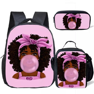 Buble printed African girl backpack set