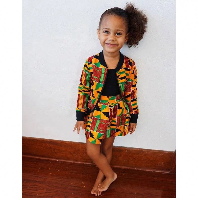 Girls Unisex Kente African Print Skirt Outfit Bomber Jacket // Orange Red Green Ankara