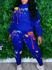 Two Piece Graffiti Tracksuit Set Long Sleeve Hoodie with Sweatpants