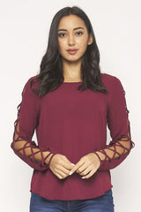 BURGANDY CRISS CROSS LONG SLEEVE ROUND NECK TOP
