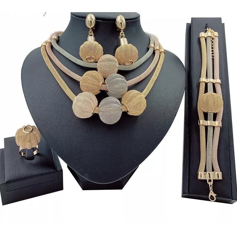 Gold Jewelry Set for Women Nigerian Choker Necklace Statement.