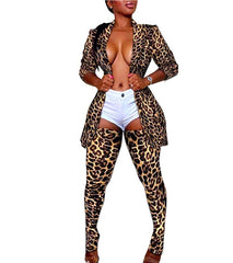 Print Leopard  Long Sleeve Blazer Over Knee Tights Legging Pants Set