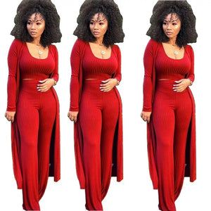 Women 3 Piece Outfits Ottoman Rib Open Front Cardigan Cover Up Crop Tank Tops Wide Leg Palazzo Pant Set Jumpsuit.