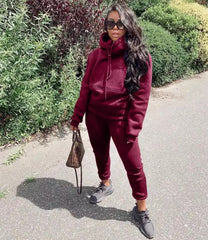Ladies hoodies fall 2 piece sets