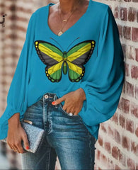 Blue Jamaican butterfly blouse