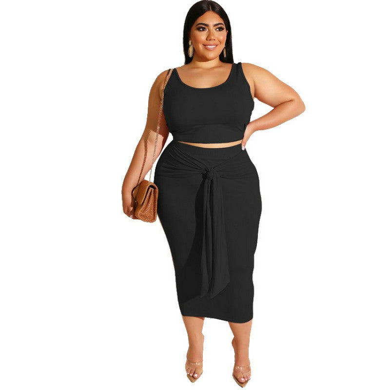 Sexy Outfits Skirt Set Women Clothing Two Piece Dress Set Plus Size Black
