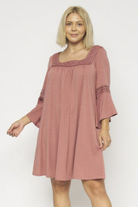 INDIGO ROSE BELL 3/4 SLEEVE SQUARE NECK PLUS SIZE DRESS WITH LACE DETAIL