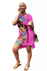 Sexy Short Sleeve Tunic African Print Dresses