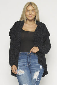 CROCHET BLACK CARDIGAN