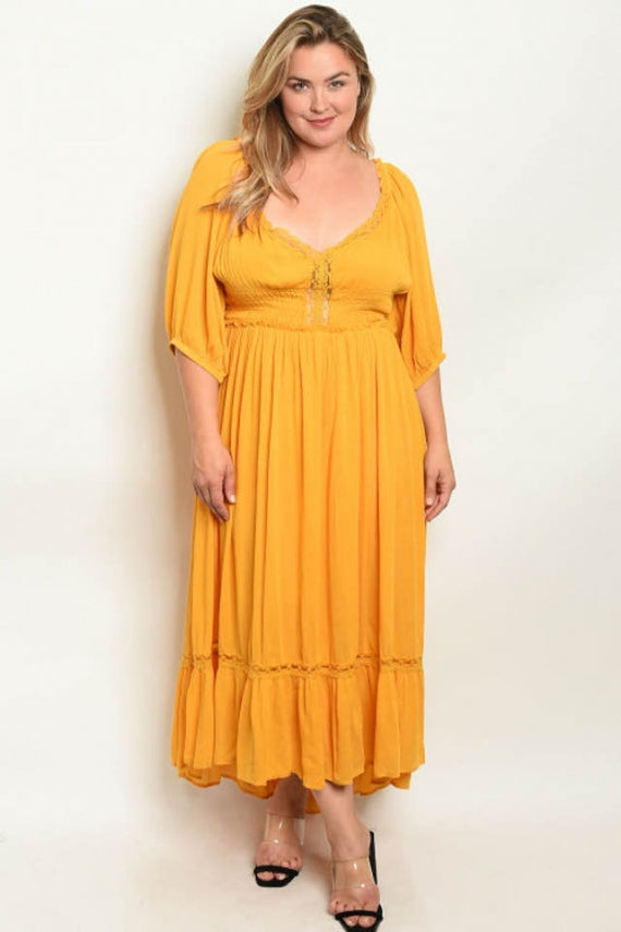 Pus size yellow dress