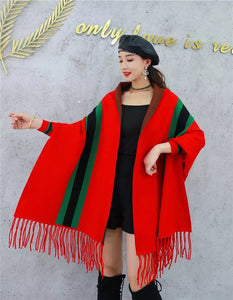 LUXURY RED PONCHO WITH SLEEVE