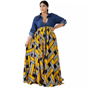 Denim Spliced Designs Woman One-piece Maxi Dress Yellow