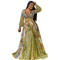 Printed Chiffon Long Dresses Women V Neck Long Sleeve Belted Evening Party Loose Vintage Beach Summer Maxi Dress
