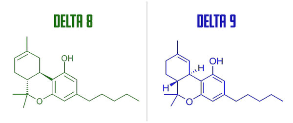 Difference between chemical structure delta 8 and delta 9