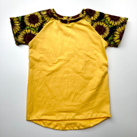 Kids Raglan T-Shirt : Yellow with Sunflower Noir