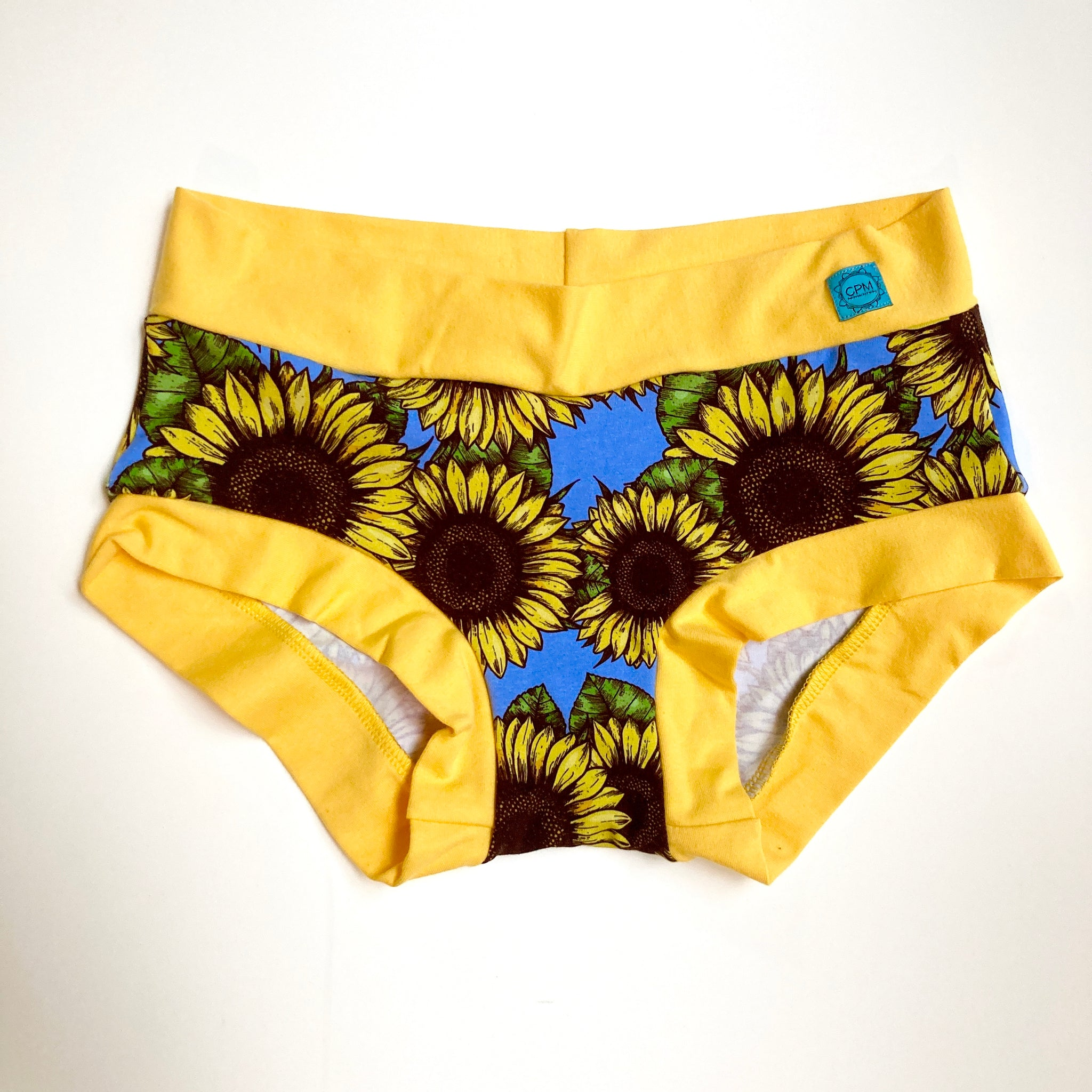 Women's Hipster Boy leg Underwear : Sunflower Symphony with Yellow