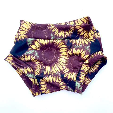 Kids Swim Bottoms : Sunflowers Noir