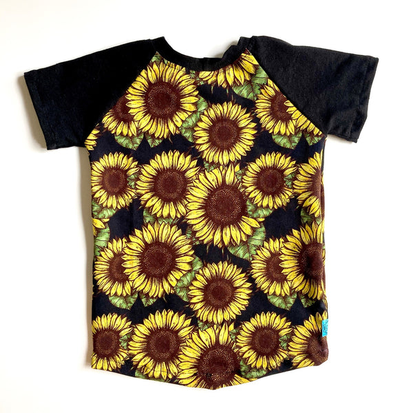Kids Raglan T-Shirt : Sunflower Noir with Black