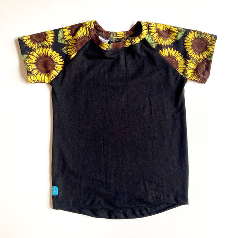 Kids Raglan T-Shirt : Black with Sunflower Noir