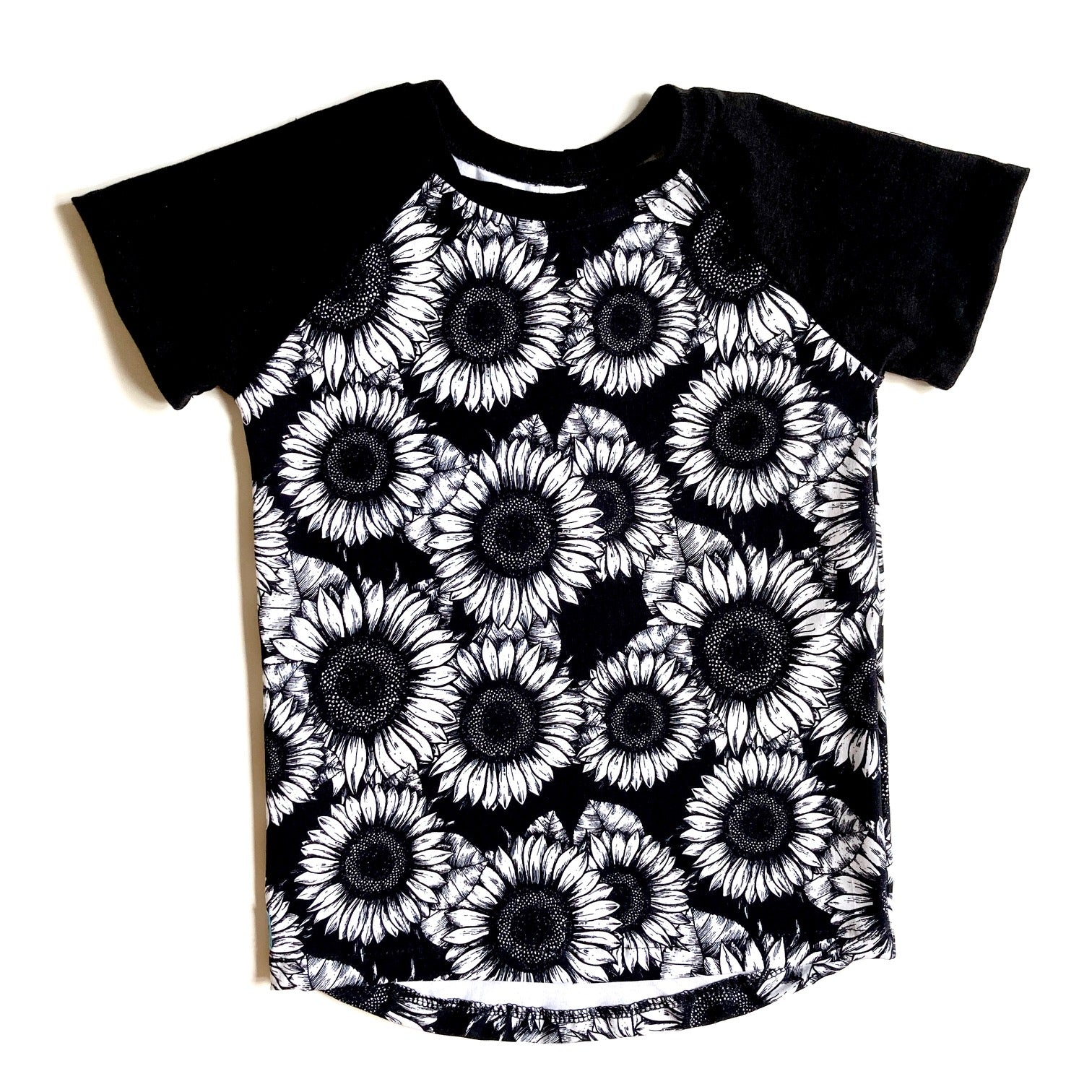 Kids Raglan T-Shirt : Sunflower Sketches But Different with Black
