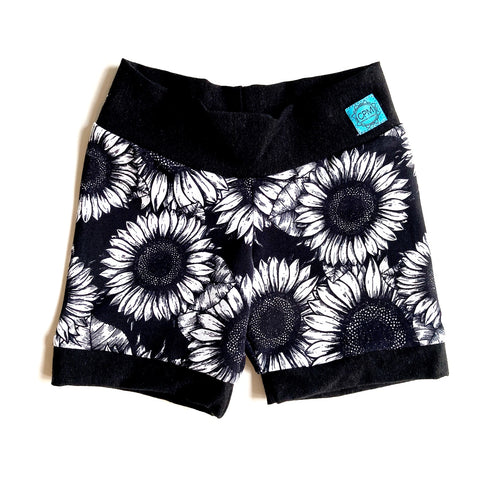 Kids Short Leggings : Sunflower Sketches But Different with Black
